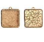 17x13mm 24K Gold Plated Patera Ornate Single Square Bezel 2 pack