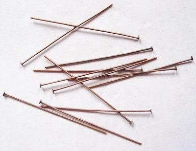 50mm Patera copper plated brass Head Pins 1 Pair