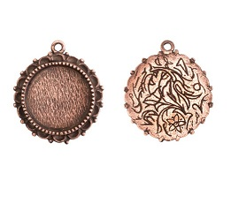 20mm Copper Plated Patera Single Loop Ornate Pendant 2 pack