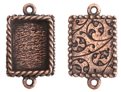 14x18mm Copper Plated Ornate Double Rectangle Bezel 2 pack