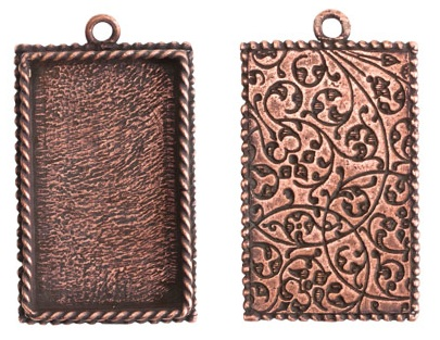 14x18mm Copper Plated Ornate Single Rectangle Bezel 2 pack