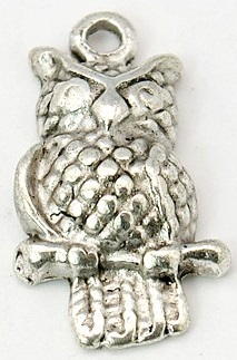 A22mm Antique Silver Owl 2 Lead Free